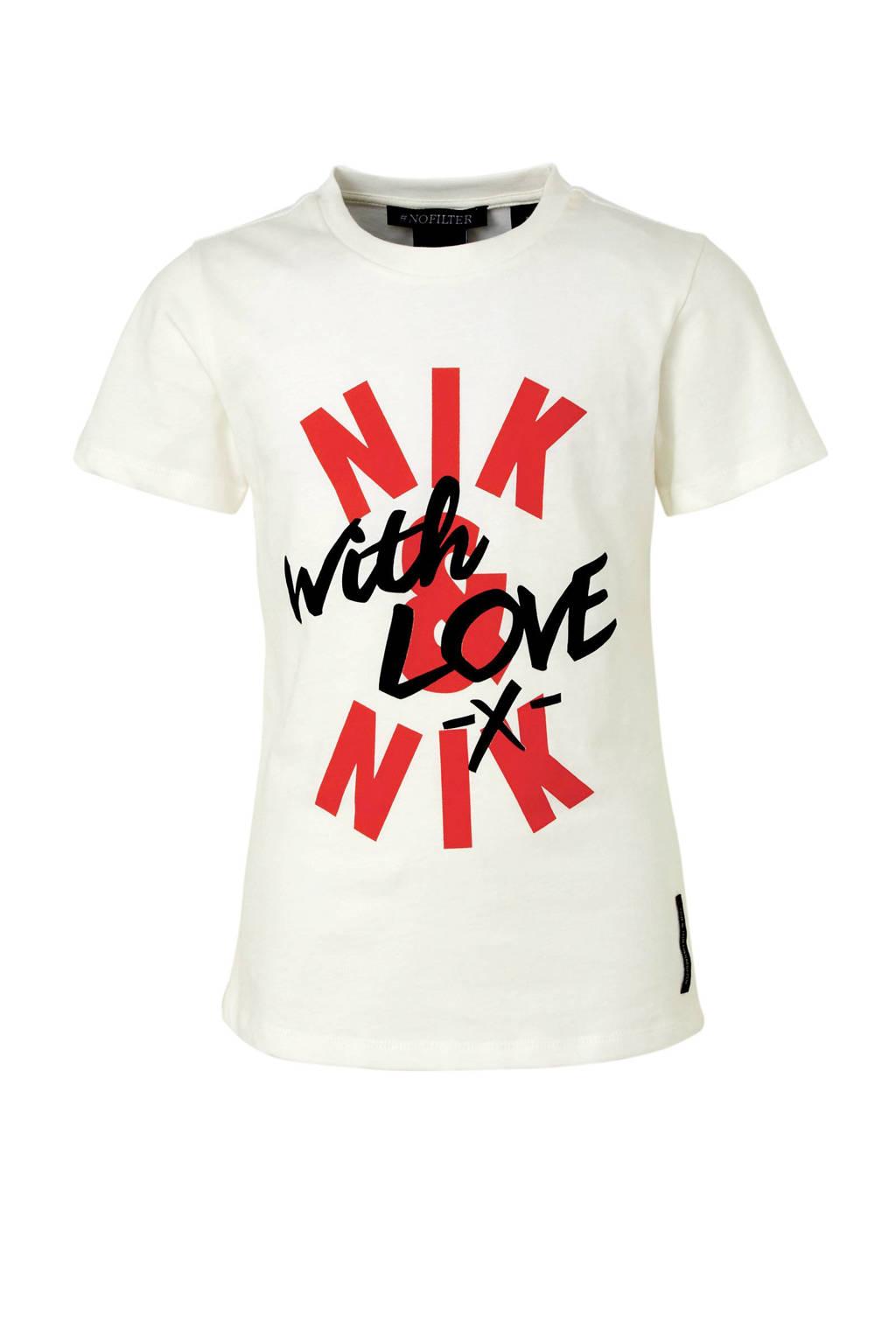 NIK&NIK T-shirt With Love met printopdruk offwhite, Offwhite