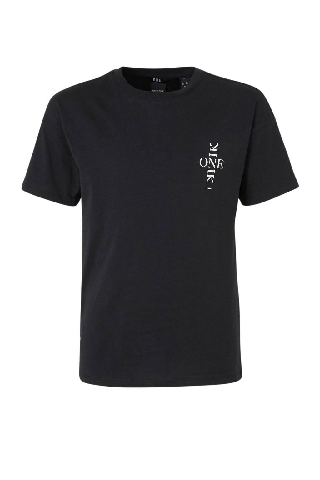 NIK&NIK T-shirt Lexy One met printopdruk zwart, Zwart