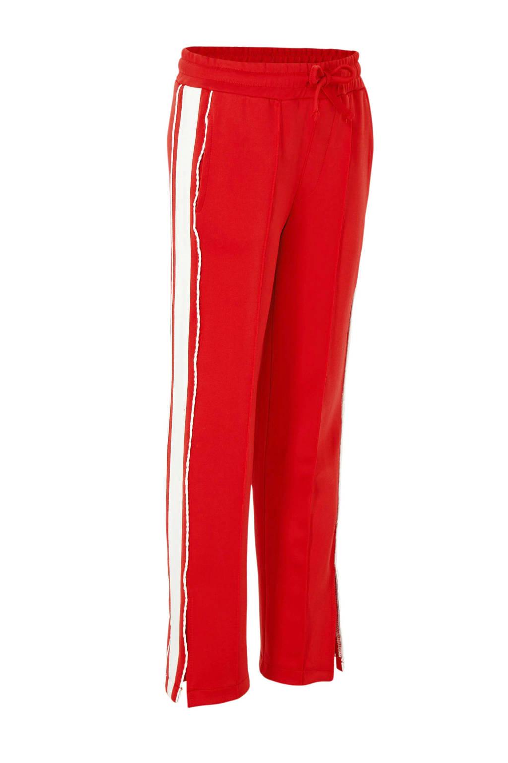 NIK&NIK broek Lora met zijstreep rood/wit, Rood/wit