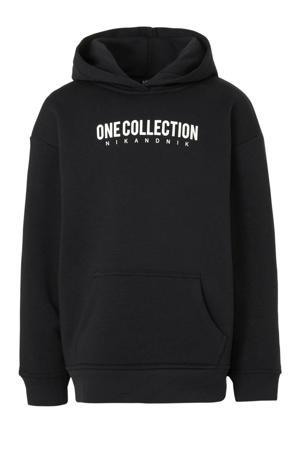 hoodie Lancy One met tekst zwart