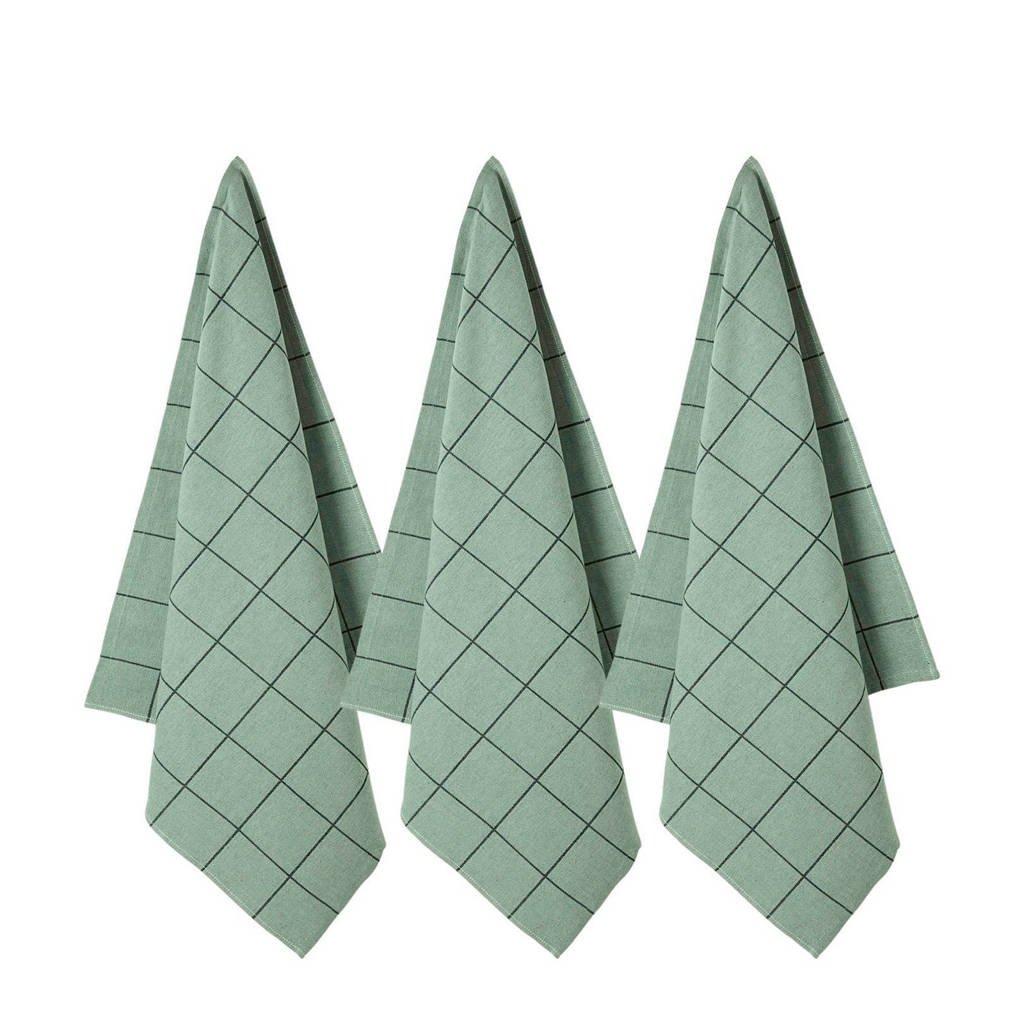 wehkamp home theedoek (65x60cm) (set van 3), Groen/zwart