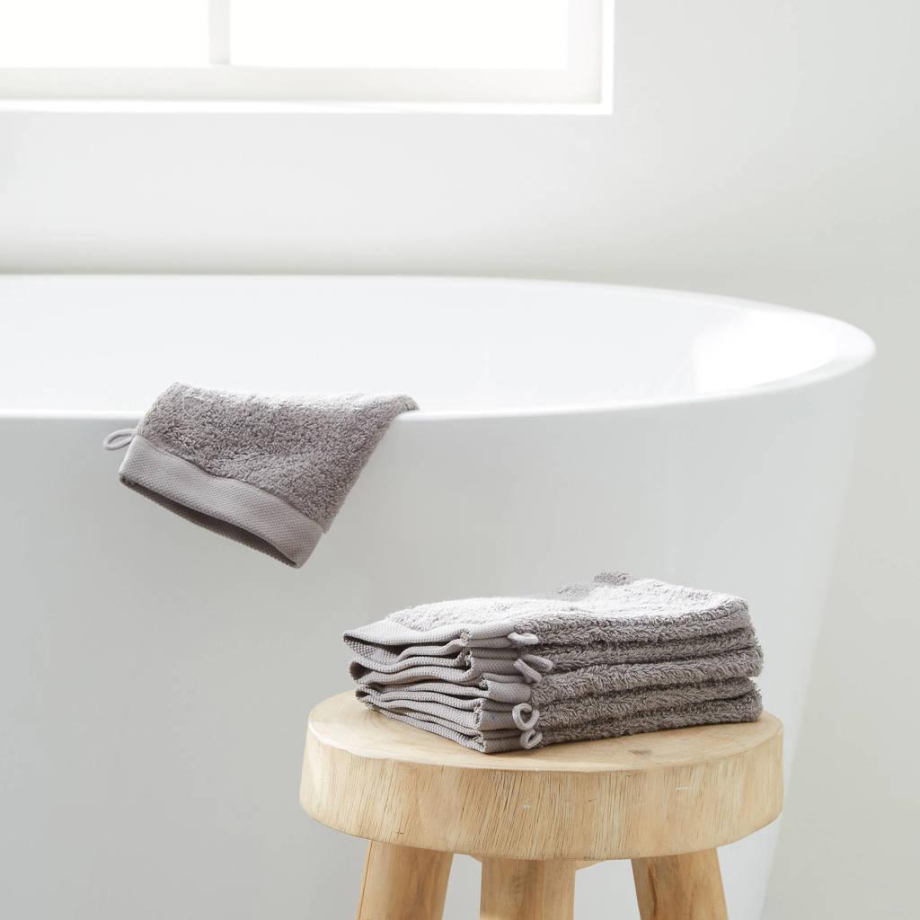 Wehkamp Home washand hotelkwaliteit (set van 6) (15x21 cm), Grijs