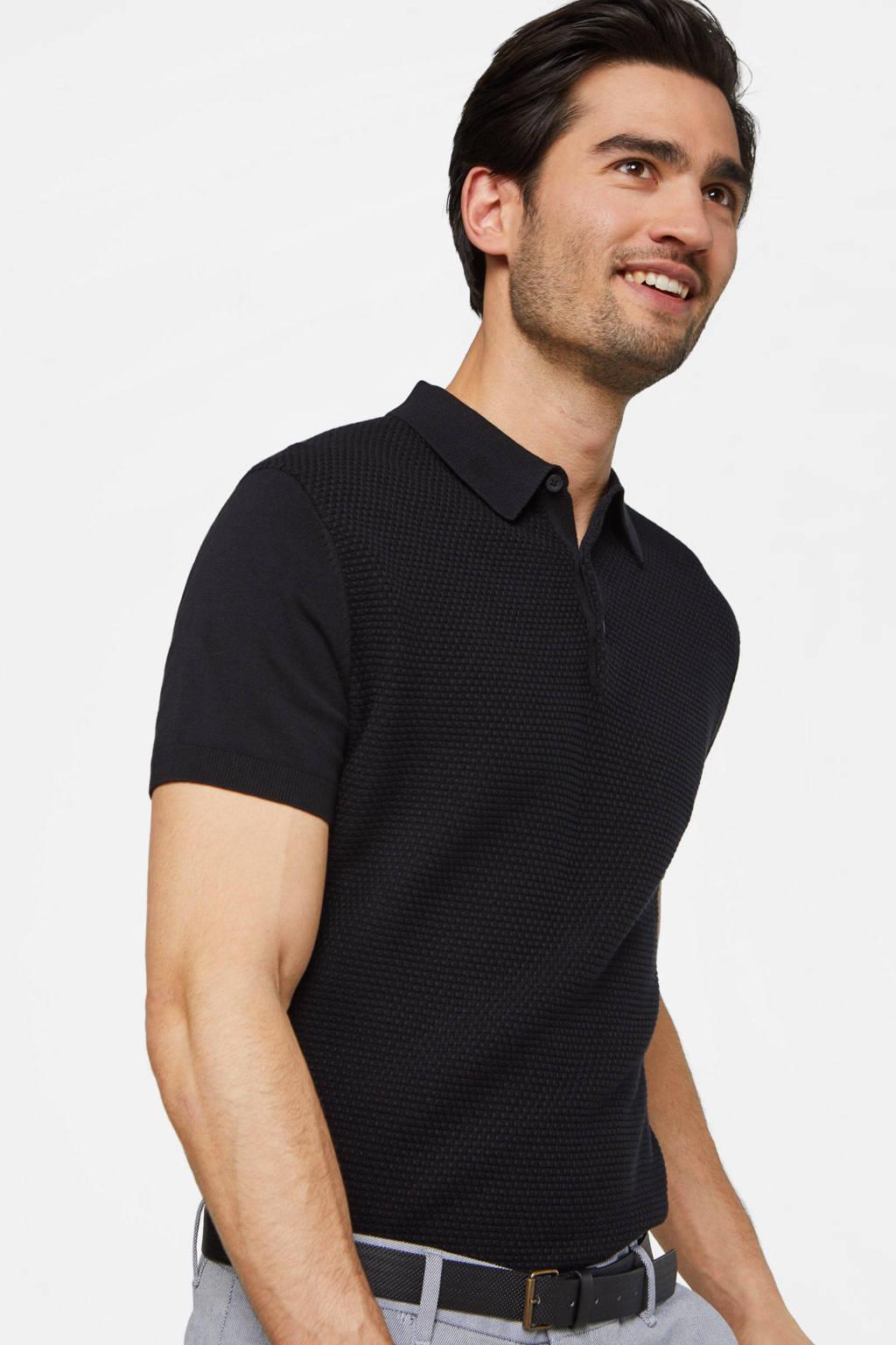 WE Fashion slim fit polo black uni, Black Uni