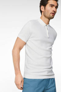 WE Fashion slim fit polo white uni, White Uni