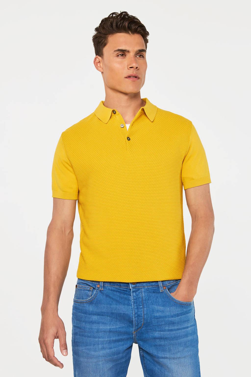 WE Fashion slim fit polo honey mustard, Honey Mustard