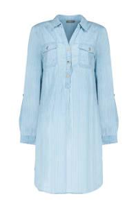 Geisha top met krijtstreep blauw/wit, Blauw/wit