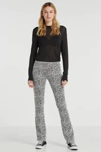 Geisha flared broek met panterprint zwart/wit, Zwart/wit
