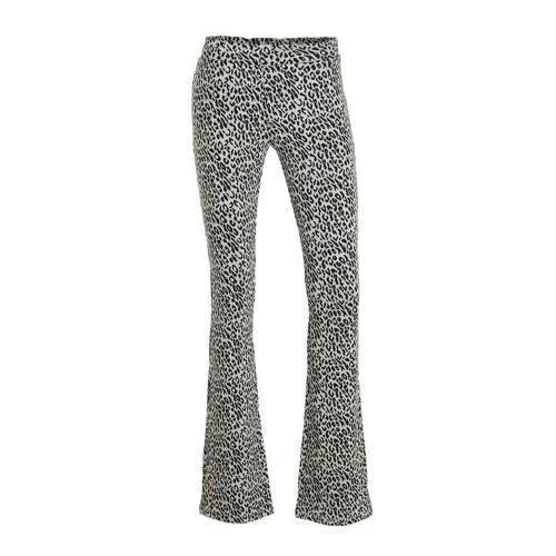 Geisha flared broek met panterprint zwart/wit