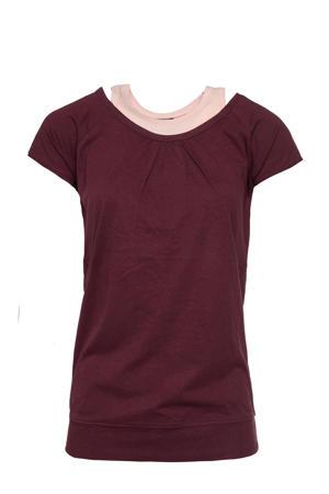 sport T-shirt met binnentop bordeaux/roze