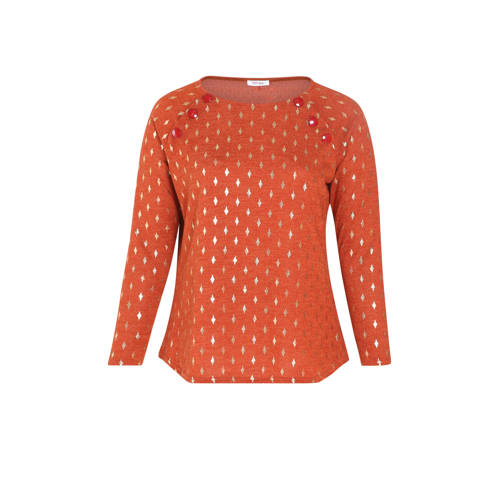 Paprika longsleeve met all over print oranje