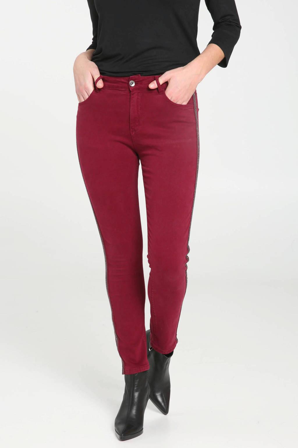 Cassis slim fit jeans met zijstreep en kraaltjes wijnrood, Wijnrood