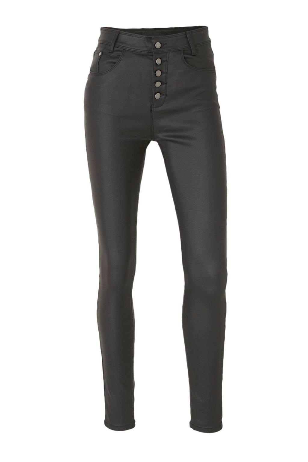 C&A Yessica coated high waist skinny broek zwart, Zwart