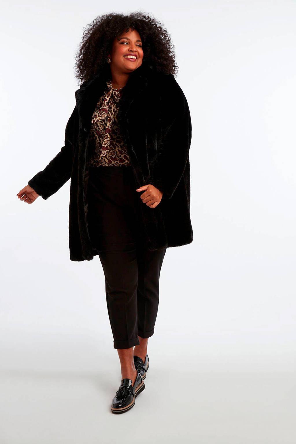 MS Mode imitatiebont winterjas zwart, Zwart