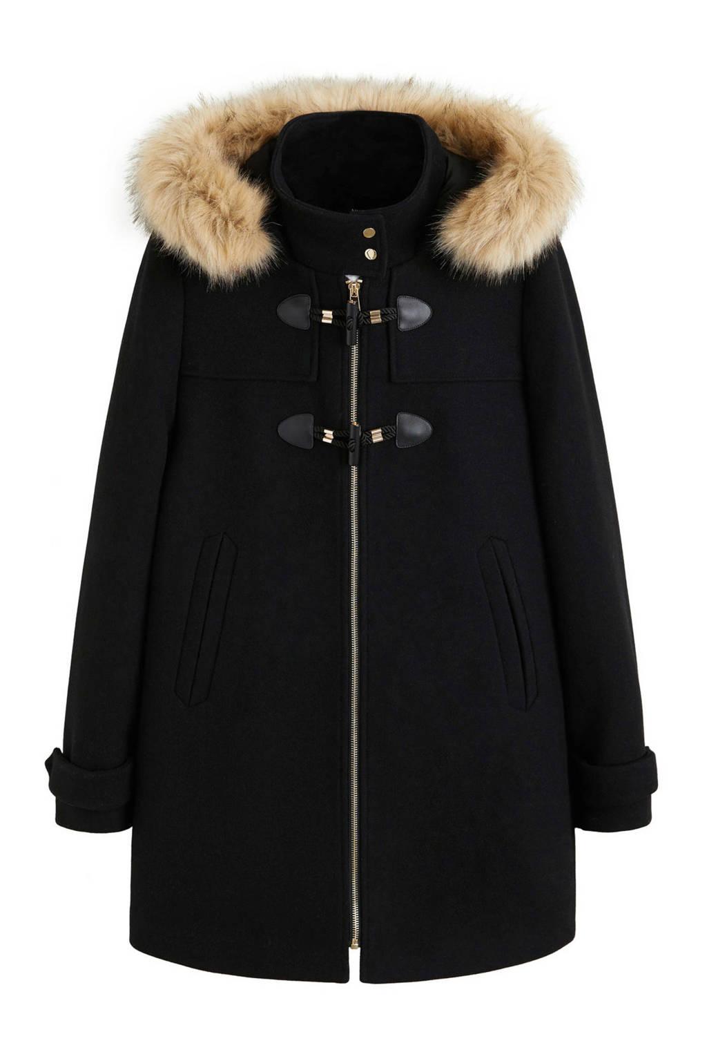 Mango winterjas met wol zwart, Zwart