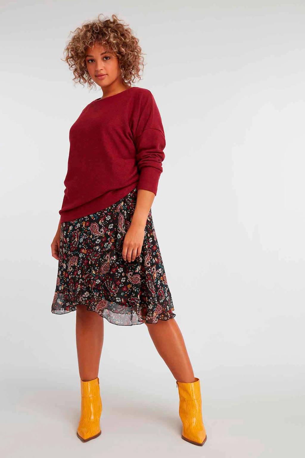 MS Mode gebloemde semi-transparante overslagjurk zwart/rood, Zwart/rood
