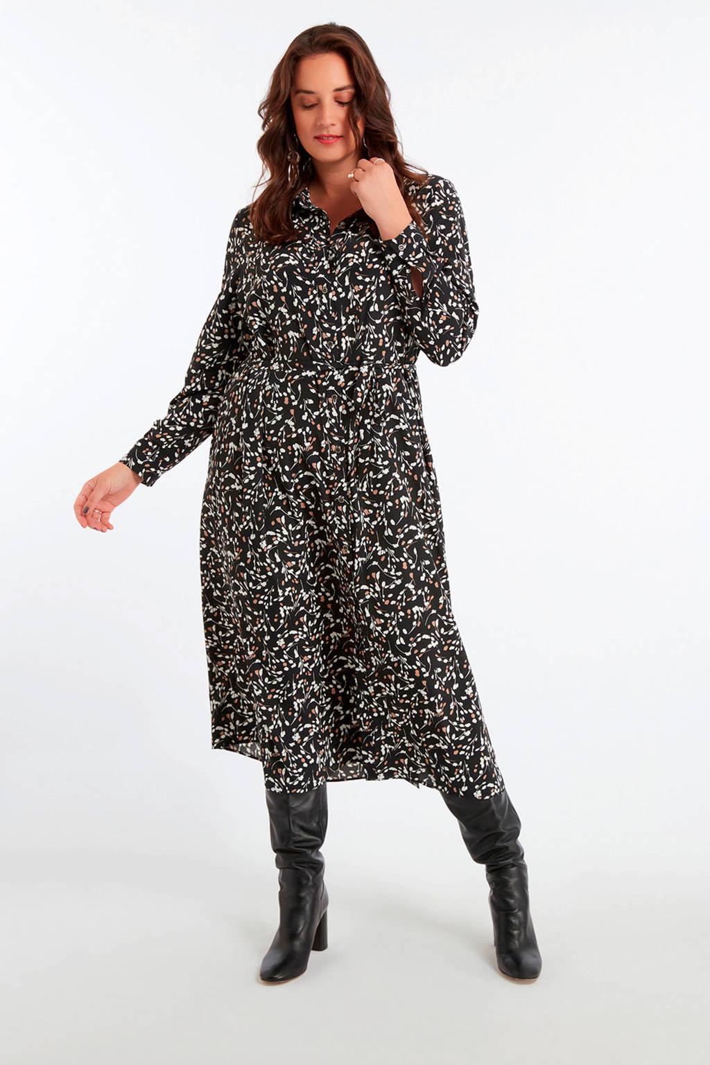 MS Mode gebloemde blousejurk zwart/multi, Zwart/multi