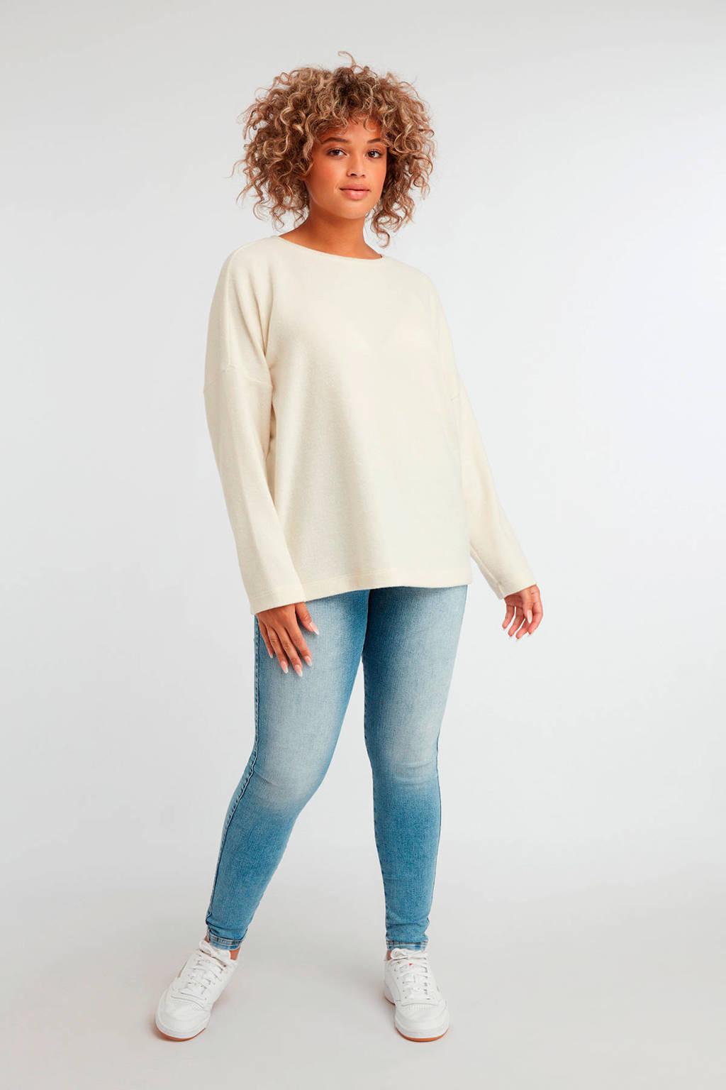 MS Mode gemêleerde trui gebroken wit, Gebroken wit