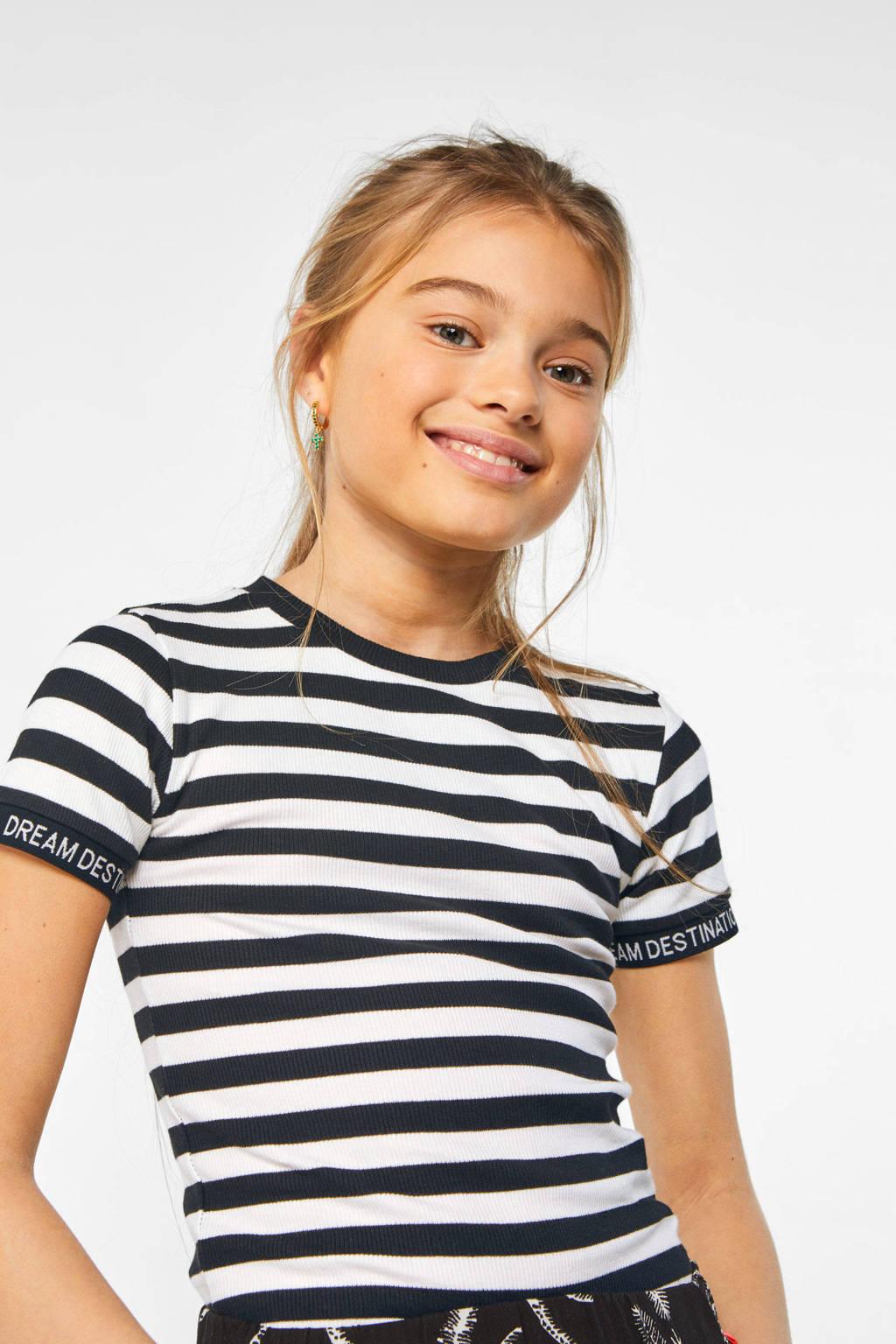 WE Fashion gestreept slim fit T-shirt zwart/wit, Zwart/wit