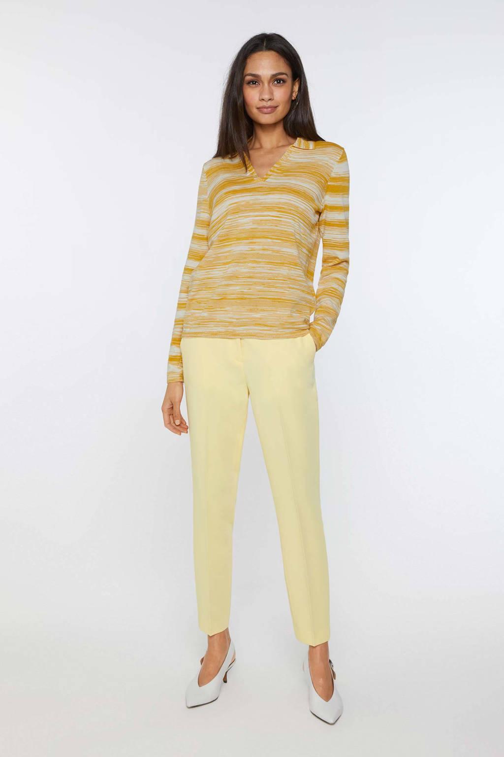 WE Fashion gebreide trui met all over print mosterdgeel, Mosterdgeel