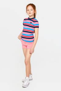 WE Fashion gestreept ribgebreid T-shirt roze/donkerblauw/blauw, Roze/donkerblauw/blauw