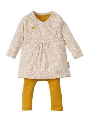 jersey jurk + legging Emily met biologisch katoen okergeel/ creme