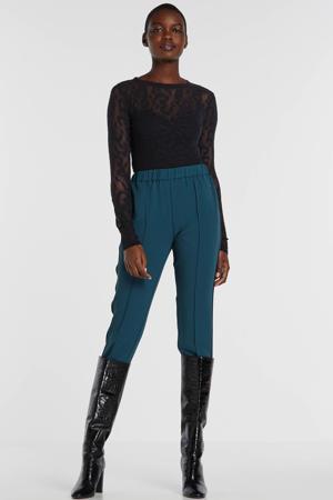 semi-transparante top Leona met panterprint en mesh zwart