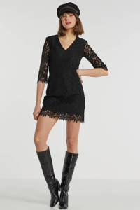 GUESS jurk May met kant zwart, Zwart