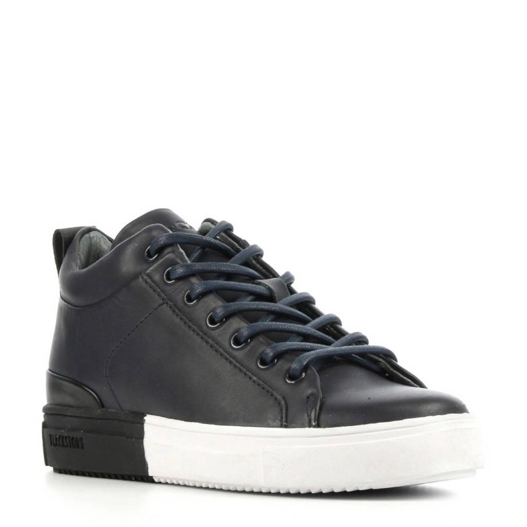 Blackstone SK53  leren sneakers blauw/wit, Blauw/wit