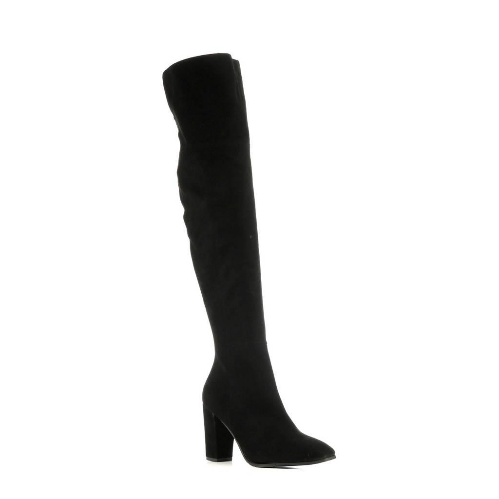 Mace Ferrara  suède overknee laarzen zwart, Zwart