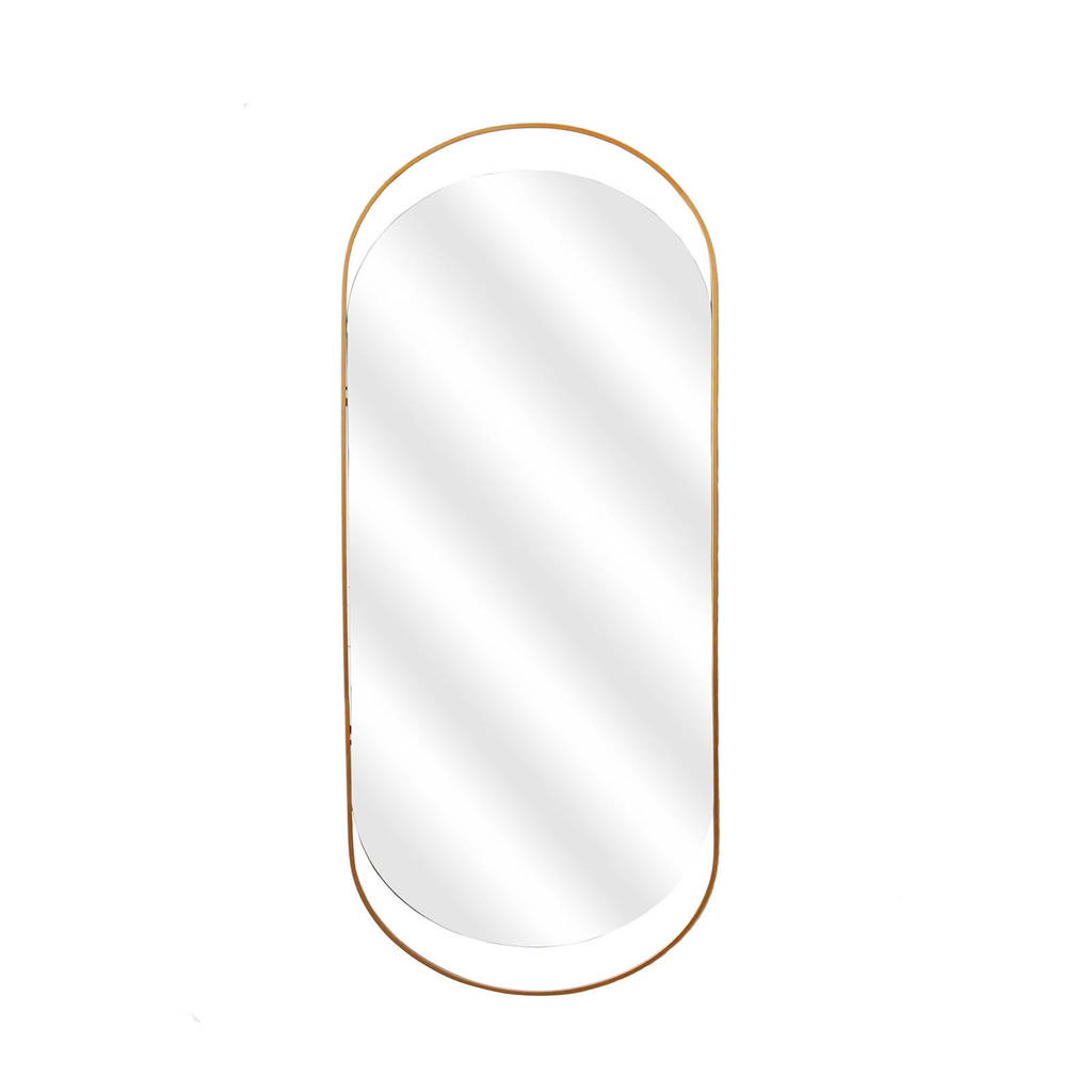 Woood spiegel Sanou, Antique Brass