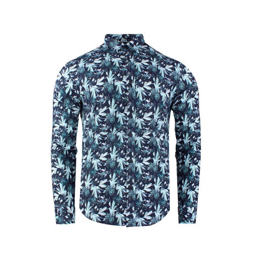 GABBIANO slim fit overhemd met all over print donk