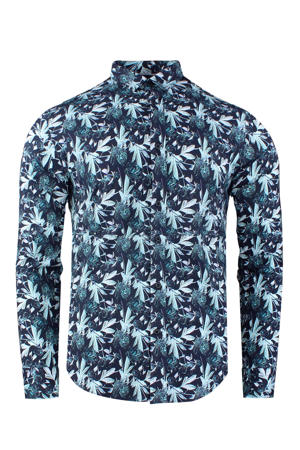 slim fit overhemd met all over print donkerblauw/wit