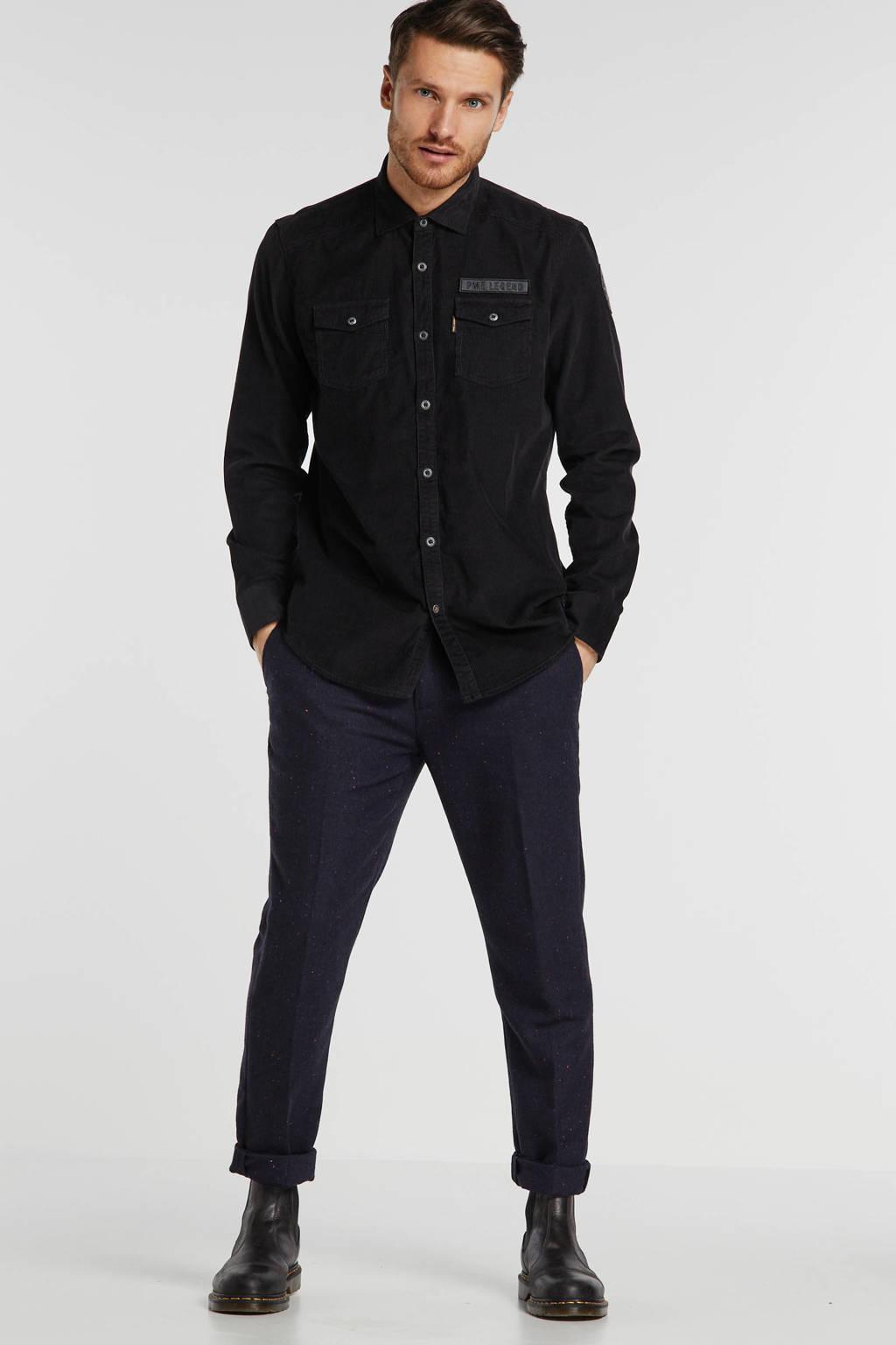PME Legend regular fit overhemd zwart, Zwart