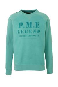 PME Legend sweater met printopdruk lichtgroen, Lichtgroen