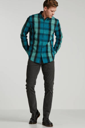 geruit slim fit overhemd groen/zwart