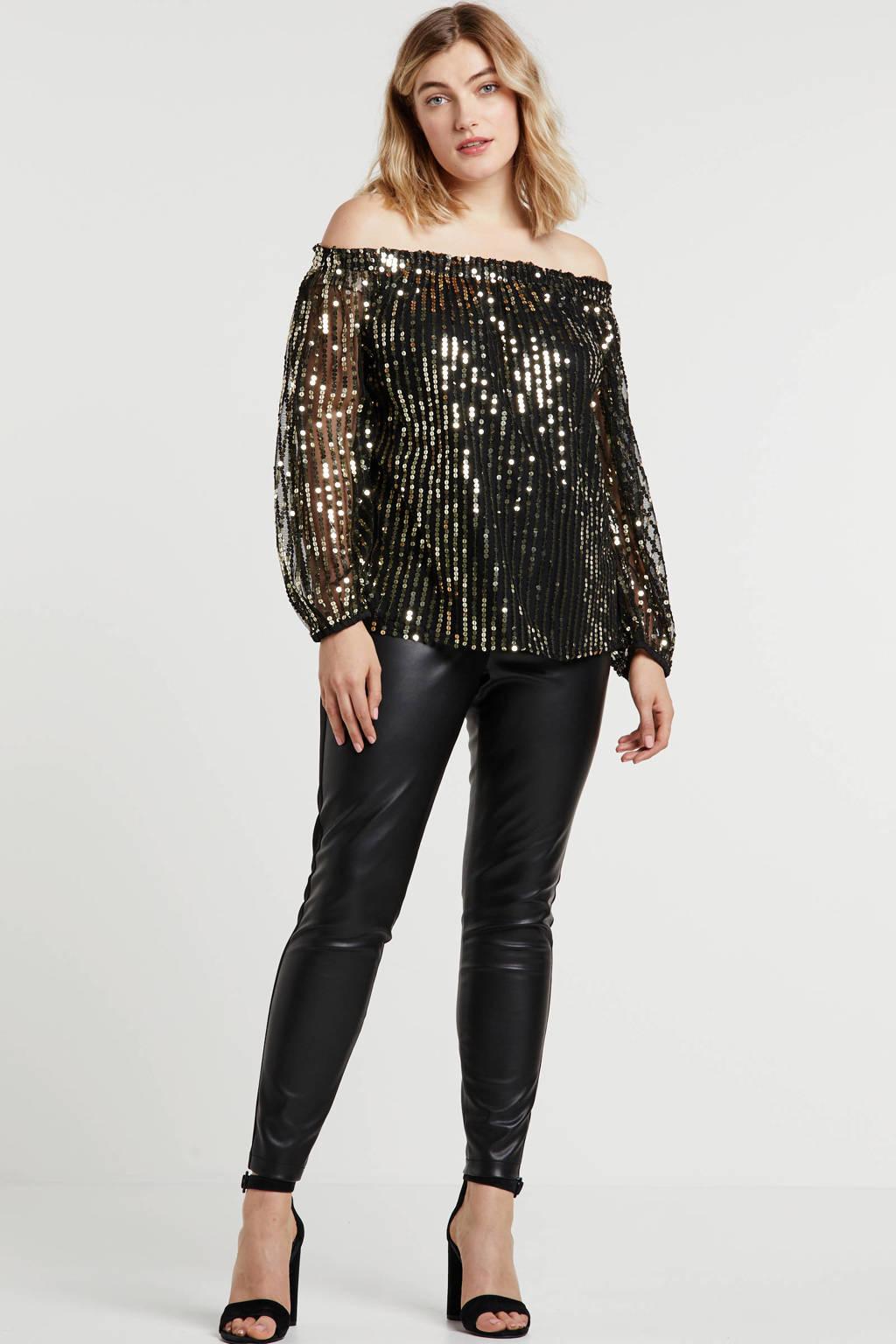 Simply Be Capsule off shoulder top met all over print en pailletten zwart/goud, Zwart/goud