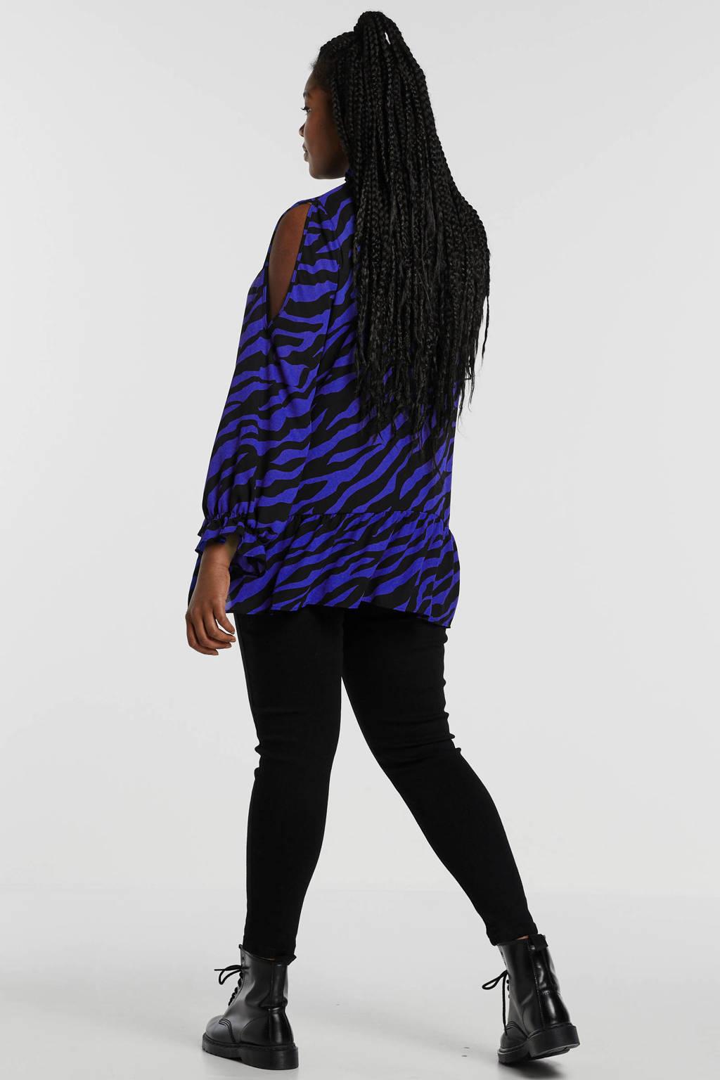 Simply Be top met zebraprint en plooien blauw, Blauw