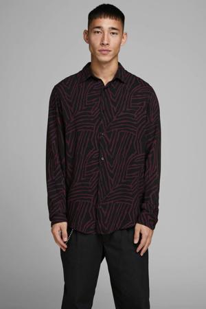 regular fit overhemd met all over print donkerrood/zwart