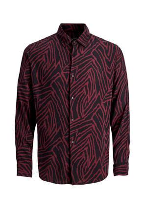 PREMIUM regular fit overhemd met all over print donkerrood/zwart