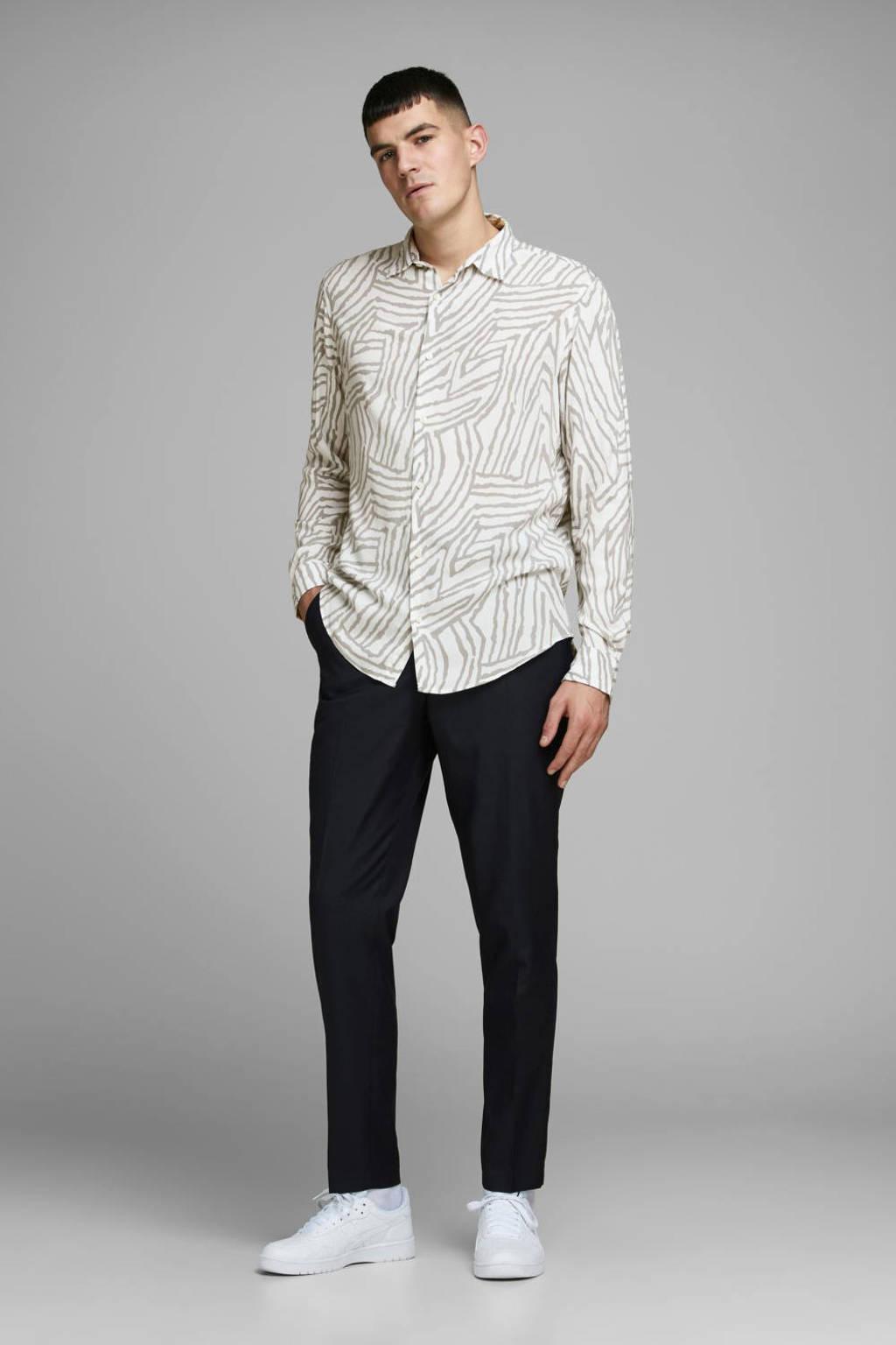 JACK & JONES PREMIUM regular fit overhemd met all over print wit/grijs, Wit/grijs