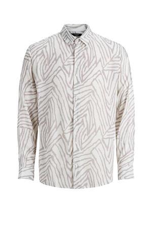 PREMIUM regular fit overhemd met all over print wit/grijs