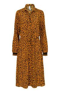Miss Etam Lang blousejurk met panterprint en ceintuur geel, Geel