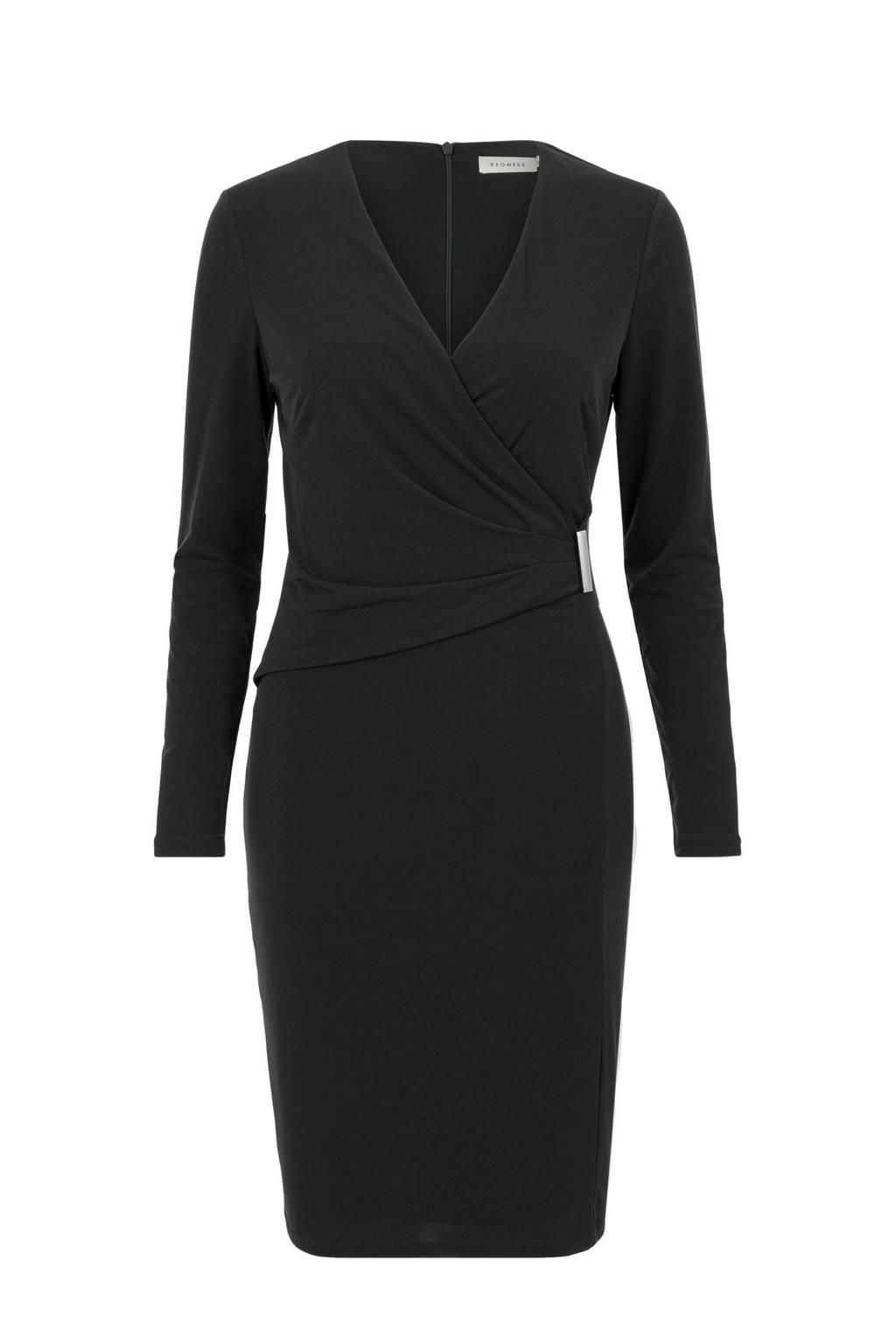 PROMISS jersey jurk met plooien zwart, Zwart