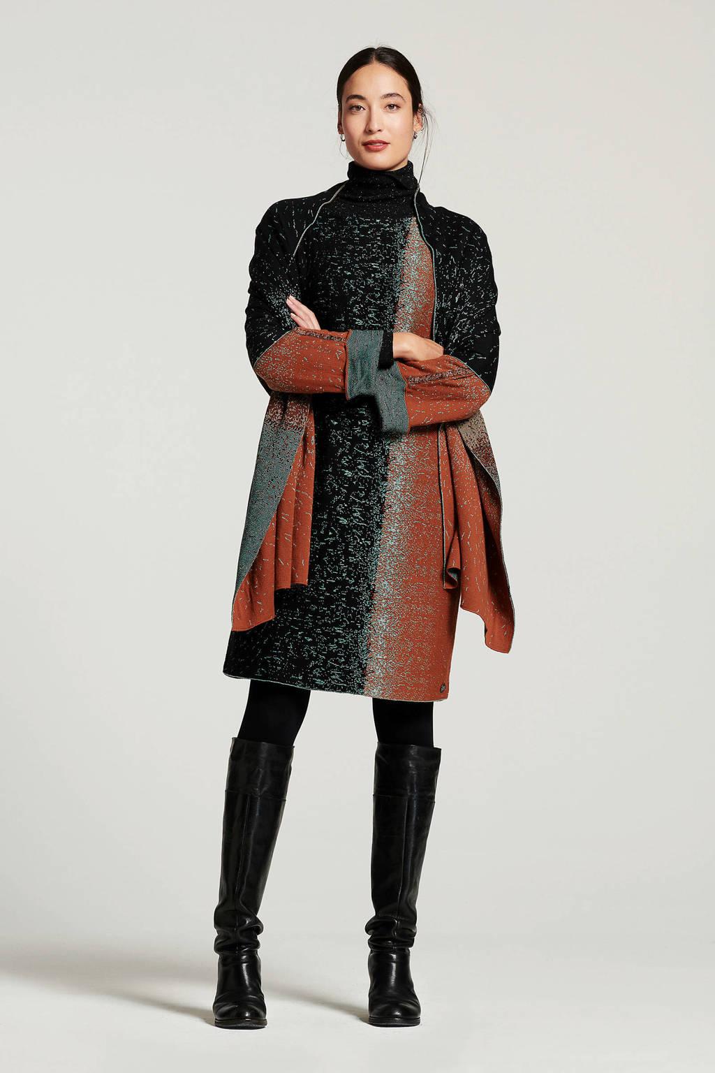 Didi jersey jurk met glitters bruin/donkerblauw, Bruin/donkerblauw