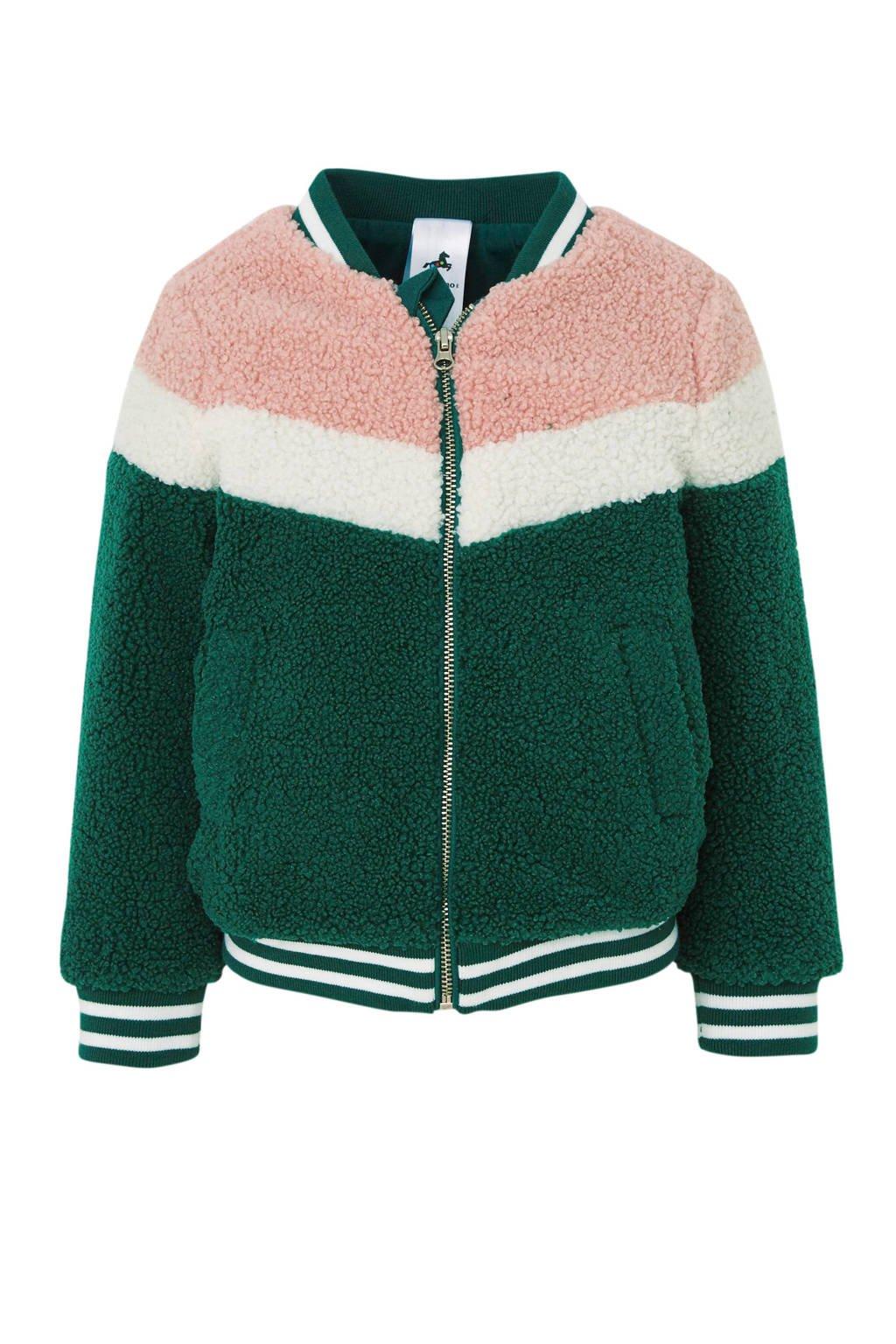 C&A Palomino teddy vest groen/wit/oudroze, Groen/wit/oudroze