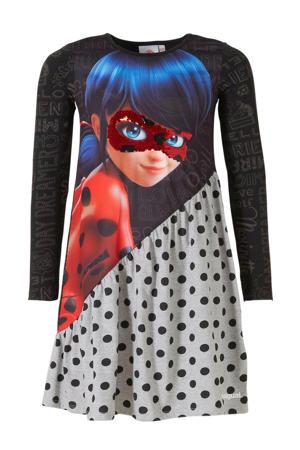 A-lijn jurk Ladybuy met printopdruk en pailletten zwart/grijs/rood