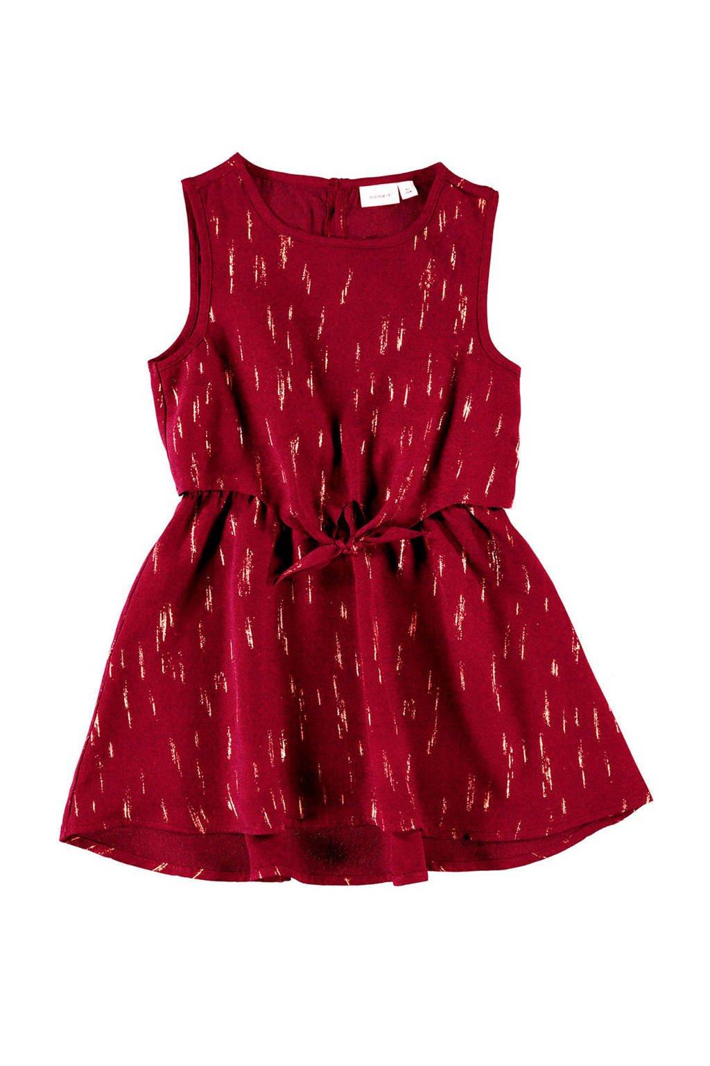 NAME IT MINI jurk met all over print donkerrood/goud, Donkerrood/goud