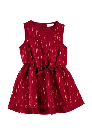 MINI jurk met all over print donkerrood/goud