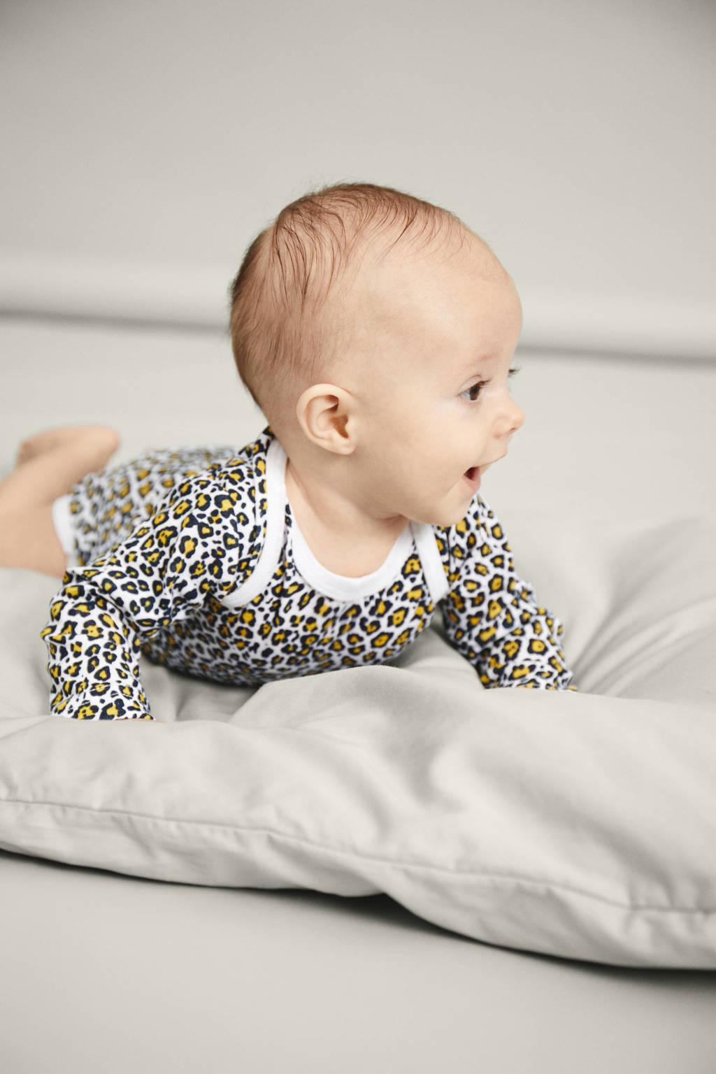 NAME IT BABY romper - set van 3 wit/geel/grijs, Geel/ zwart/wit