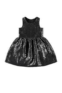 NAME IT KIDS coated halter jurk met all over print zwart/zilver, Zwart/zilver